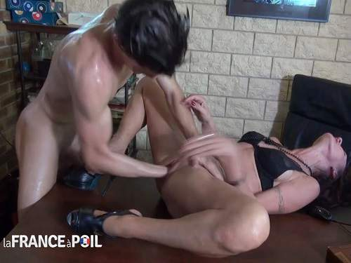 Dirty French milf gets fisted and dildo fuck