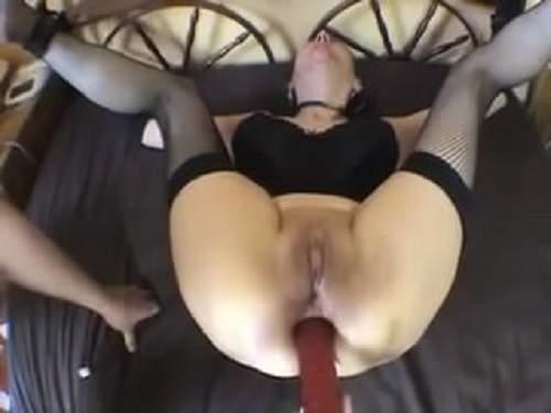 Bondage amateur mature double dildo fuck