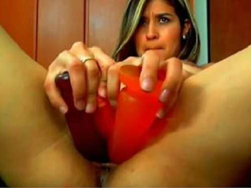 Unique latin teen triple toy penetrated close up