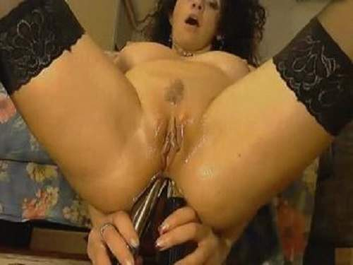 Perverse curly mature double dildo rides