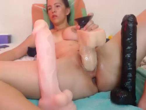 Colossal inflatable dildo penetrated into stretched asshole