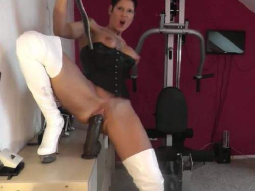 Busty tattooed milf monster sized toy insertion herself