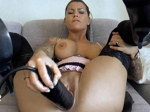 Busty tattooed girl inflatable toy fuck hard