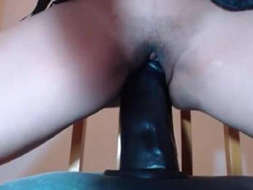 Private video girl rides on a two huge dildos