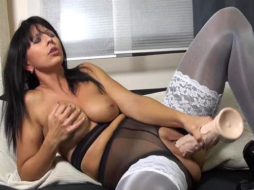 Dirty brunette milf solo giant dildo insertion closeup