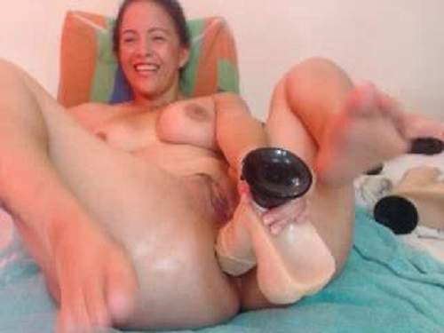 Inflatable toy insertion and huge dildo anal deeply