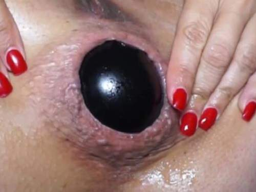 Wonderful milf ruined her asshole with big ball