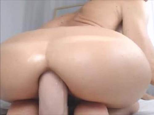 Booty spanish slut rides on a epic dildo