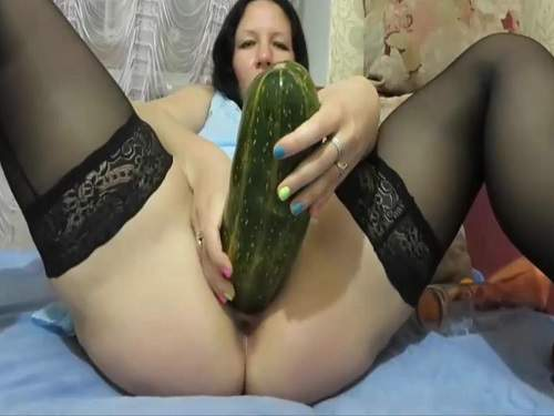 Colossal vegetable and bottle insertion in pussy russian chick