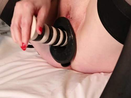 Busty milf insertion epic speculum dildo in her wet pussy