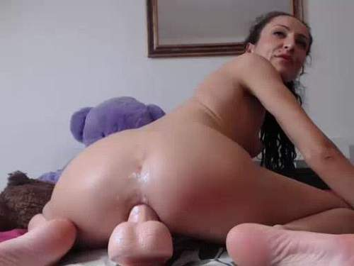 Asshole dildo rides perverted curly girl webcam