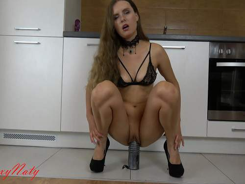 Huge plug riding solo in the kitchen sexy skinny girl