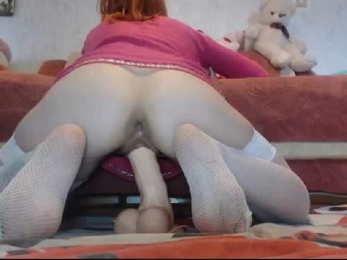 Dildo riding exciting russian redhead webcam pornstar