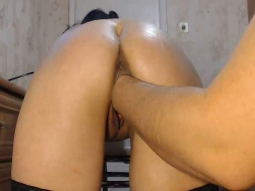 Russian girl gets fisted and giant dildo vaginal