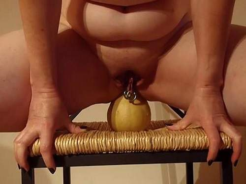 Wife with piercing pussy riding on a little pumpkin
