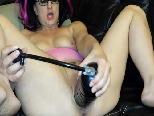Crazy milf inflatable dildo hard penetration in pussy