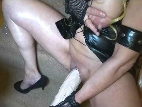 Monster dildo riding busty mature with pump tits