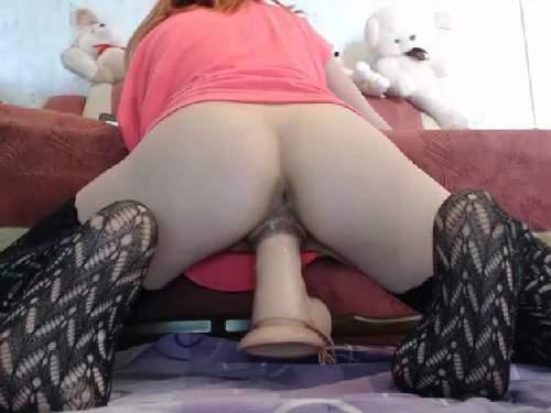 Big dildos riding horny redhead teen webcam