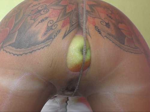 Nylon fetishes and booty girl gets apple in asshole