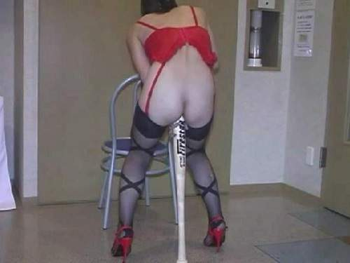 Masked asian wife gets baseball bat in different poses