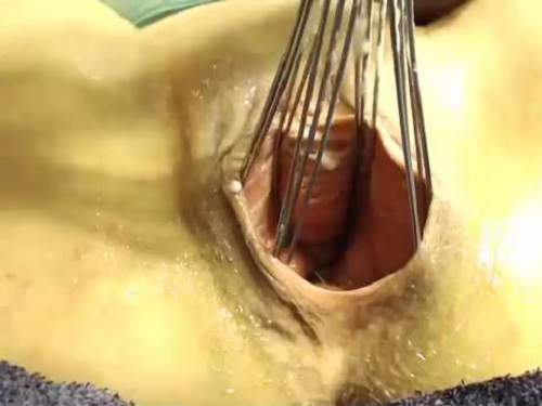 Bottle, fist and whisk penetration in smooth pussy