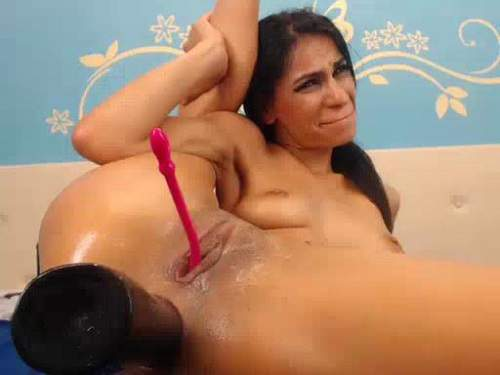 Dildo fuck in asshole and pussy skinny brunette solo