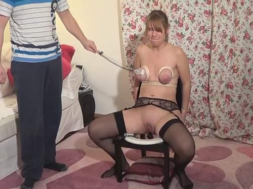 Bondage huge dildo