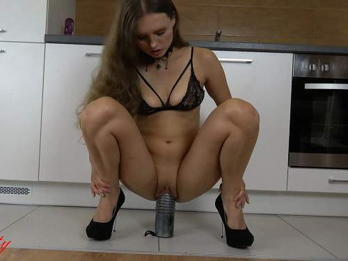 Colossal dildo riding solo unique amateur video