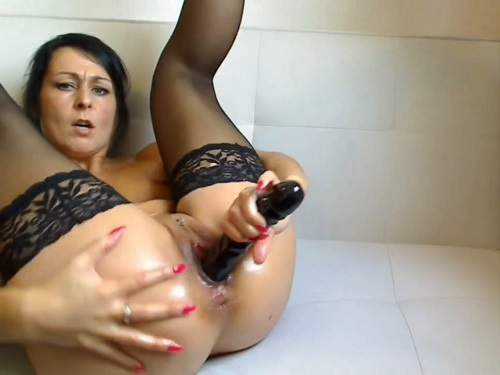 Rare webcam milf very long dildo deep fuck to squirting