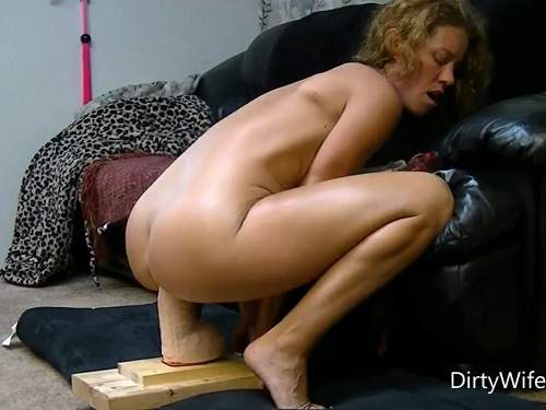 DirtyWifeStyle rides on a monster dildo homemade