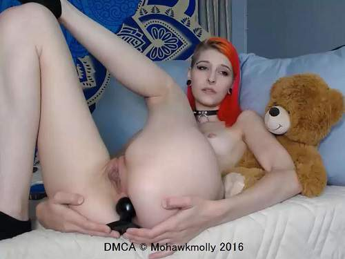 Mohawkmolly wearing different perverted suit and dildo fuck anal