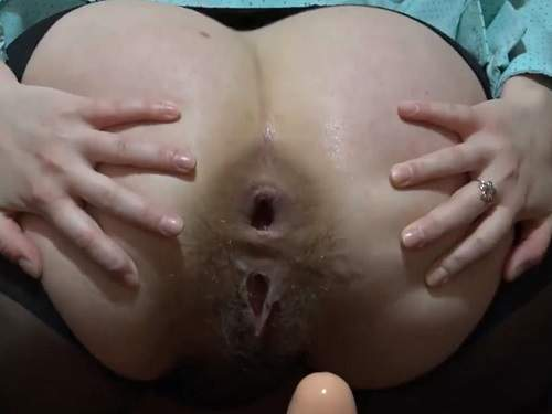 Russian hairy wife anal gape stretching with her big dildo