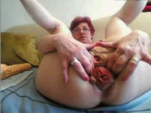 Webcam depraved granny falls colossal prolapse asshole