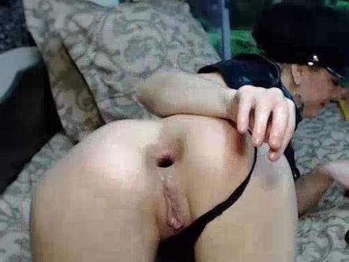 Fisting solo gape asshole mature in doggy style pose