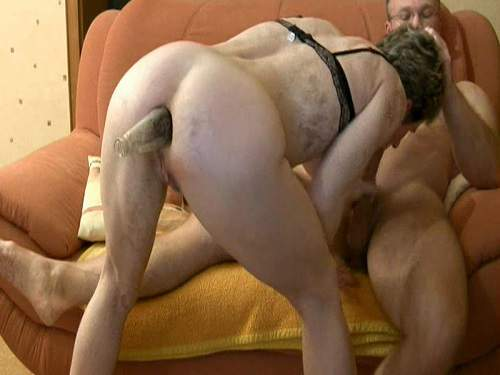 Incredible amateur granny awesome bottle anal fuck