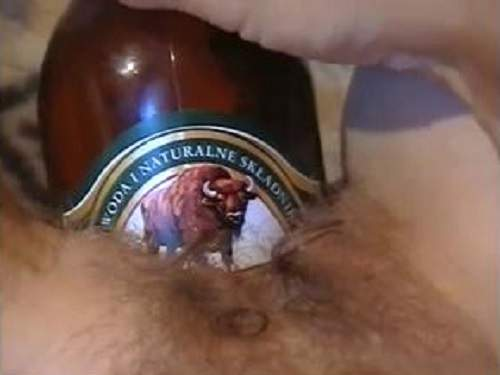 Rare POV video hairy mature solo beer bottle vaginal insertion