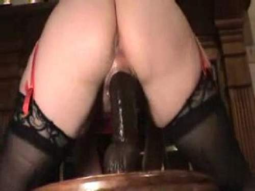 Sexy amateur mature with piercing vagina colossal dildo riding