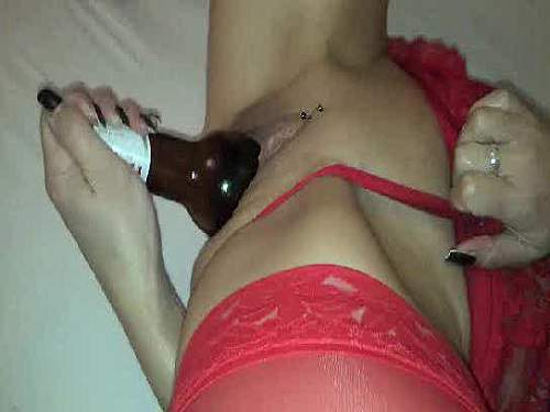 Beer bottle deep pussy and dildo penetration kinky mature