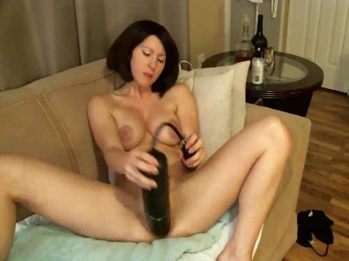 Huge inflatable dildo penetrated herself hot brunette webcam