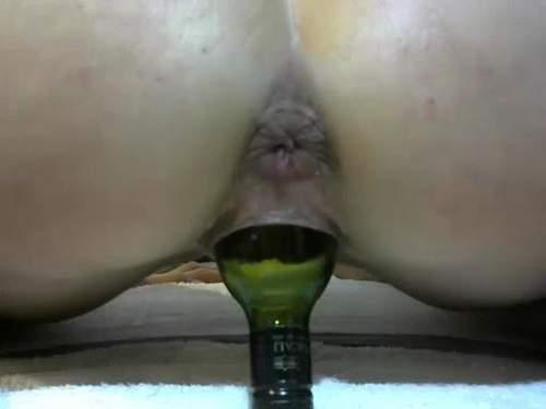 Masked webcam star big bottle penetrated herself