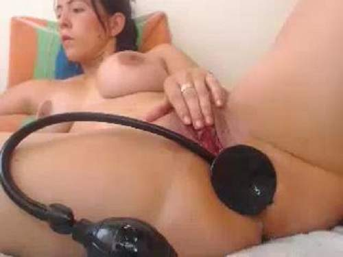 Busty wife solo penetrated epic toy in wet cunt