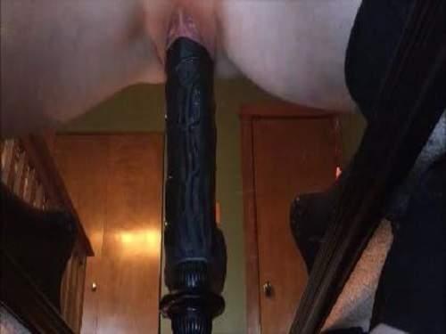 Colossal black dildo pussy penetration hot amateur