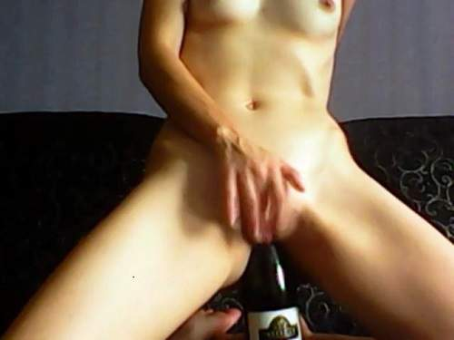 Wet pussy russian skinny wife wine bottle riding