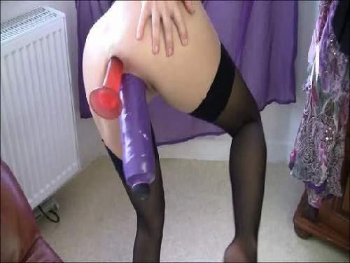 Fantastical webcam horny milf double big toy insertion