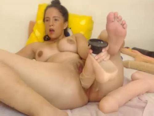 Really shocking sized dildo fully pierced into wet cunt