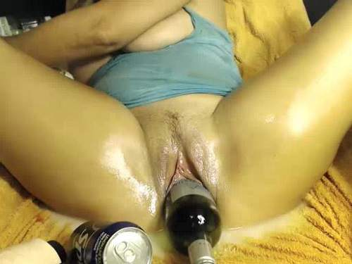 Boots and more bottle penetrated horny busty mom