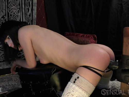 Abigail Dupree rides on a monster black dildo and creampie vaginal