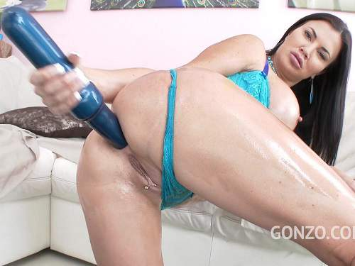 Busty milf Jasmine Jae gets huge dildo in anal gape – Release September 15, 2017