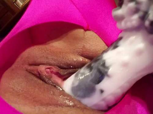 Dirty girl in spandex suit solo bad dragon dildo porn homemade