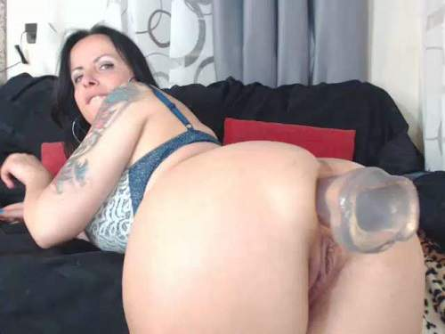 booty milf,mature anal,big dildo fuck in ass,transparent dildo anal,big toy insertion in ass,huge dildo rides